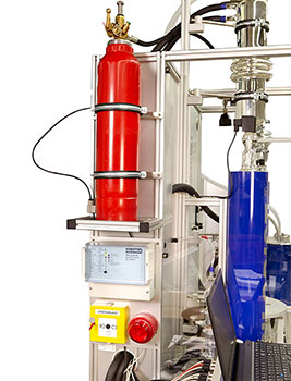 Optional fire extinguisher with acoustic and visual alarm as well as other safety features are available to optimize the system for individual needs
